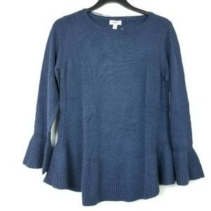 Style&CO L Blue Ruffle Pullover Sweater 6AR33
